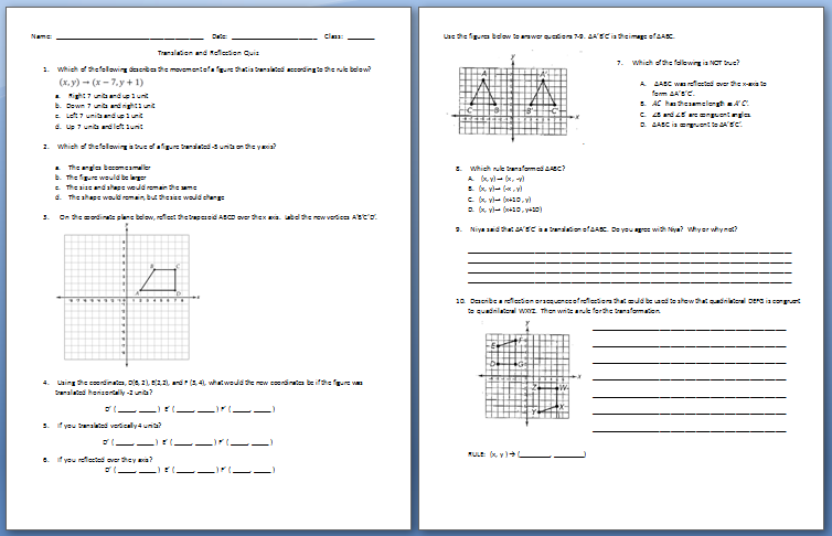 Reflection Worksheet 8th Grade - translations rotations reflections ...