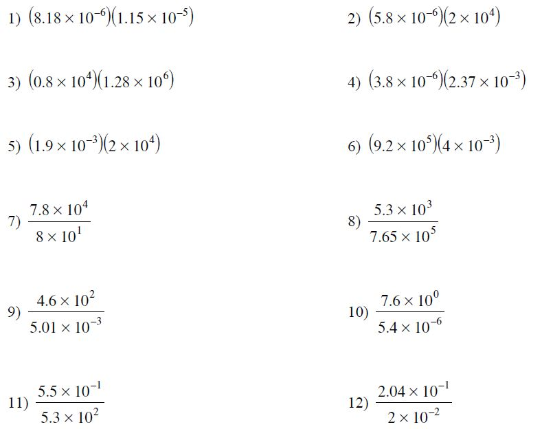 Multiplying And Dividing Scientific Notation Worksheets Free – Operations with Scientific Notation Worksheet