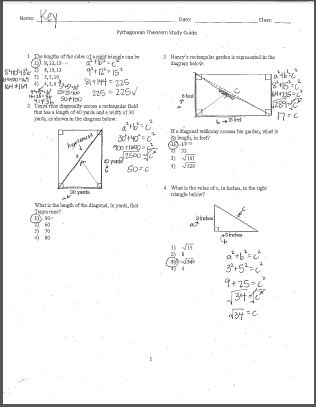 Pythagorean theorem study guide answer key